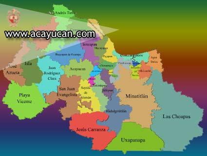 Localizaci�n de Acayucan en la regi�n Las Selvas